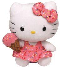 Beanie Babies HELLO KITTY - fehér cica plüss figura fagyival 15 cm